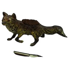 Bronze Cold Painted Fox Nib Holder Antique Edwardian c1900
