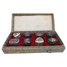 Boxed Set Of 8 Chinese Cloisonne Pill Boxes Vintage c.1950s.