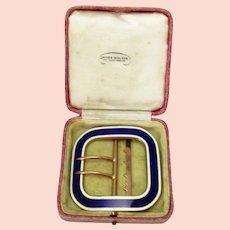 Vintage Art Deco Boxed Guilloche Enamel Belt Buckle c.1920s