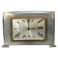 Pewter Hand Beaten Retro Clock Vintage c1940.
