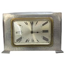 Pewter Hand Beaten Retro Clock Vintage c1940.