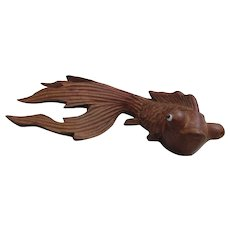 Japanese Early 20th Century Carved Wooden Koi Carp.