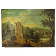 Small Antique Georgian Oil on Board of Figures in Landscape c1800.