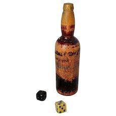 Antique Victorian Miniature Carved Bottle Dice Holder Shaker.