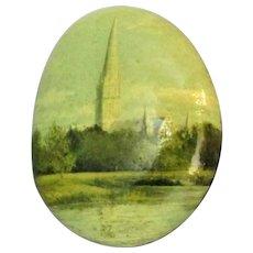 Miniature Vintage Painting of Salisbury Cathedral on a Pebble c1980.