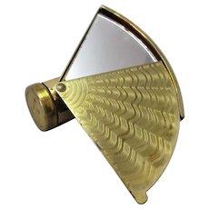 English Brass Fan Mirror And Lipstick Holder Vintage Art Deco.