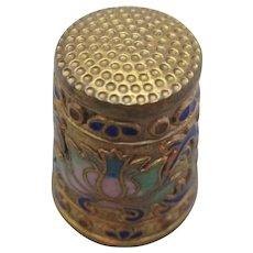 Cloisonne enamel Thimble Vintage early 20th Century.