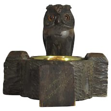 Carved Wooden Owl And Brass Blessing Dish Vintage 20th Century.