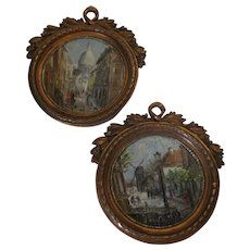 Pair of Miniature Continental Oil Paintings in Bronze Frames Antique c1900.