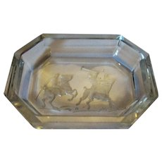 Small Polo Engraved Cut Glass Pin Dish by Heinrich Hoffmann Vintage c1930s.