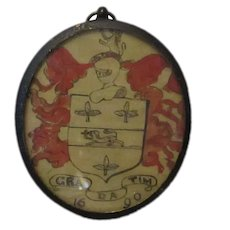 Pencil & Watercolour Sketch Miniature Oval Framed Coat Of Arms Antique c.1900.