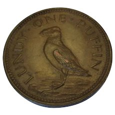 Lundy Island Bristol One Puffin Coin Vintage c1929.
