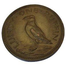 Lundy Island Bristol One Puffin Coin Vintage c1929.