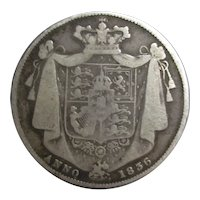 Silver Half Crown William IV Antique c1836