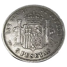 Spanish Alfonso XIII Silver 5 Pesetas Baby Face Issue Antique c1891