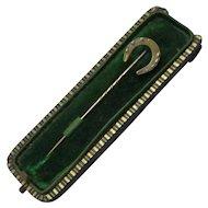 9ct Stick Pin With 18ct Horse Shoe Antique Art Deco c1920.