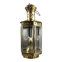 Decorative Brass Lamp With Bevelled Glass Antique Victorian c1900