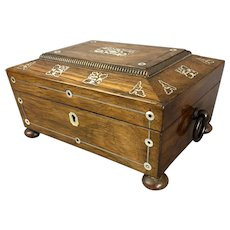 Mother of Pearl Inlaid Wood Sewing Box With Secret Panel and Key Antique Victorian c1890