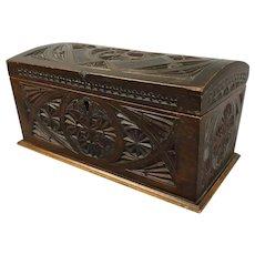 Carved Cypress Wood Lidded Box Vintage