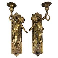 Pair of Brass Cherub Candle Scones Antique Victorian c1900