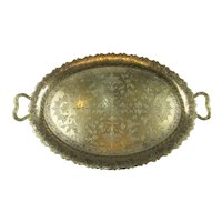 Benares Indian Brass Two Handled Tray Vintage 20th Century.