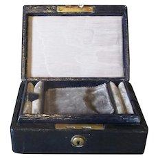 Leather Travel Jewellery Box Victorian c1890