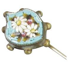 Micromosaic Daisy Stick Pin Italian c1920
