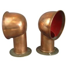 Pair of Boat Cowl Ventilators Copper and Brass Vintage c1930