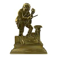 Heavy Brass Violin Fiddle Player Door Stop Antique Victorian c1890