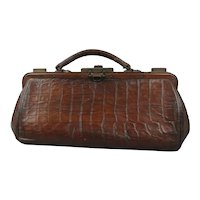 Embossed Leather Gladstone Bag Antique Edwardian c1910