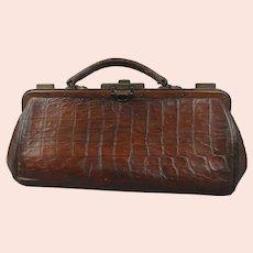 Embossed Leather Gladstone Bag Antique Edwardian c1910