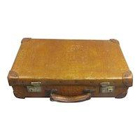 Embossed Crocodile Leather Suitcase Vintage c1950