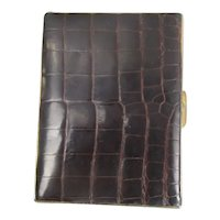 French Leather And Metal Card Case Vintage c1950