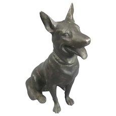 Spelter Alsatian Shepherd Dog Figurine Antique Edwardian c1910