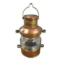 Copper And Brass Anchor Lamp Antique Victorian c1890