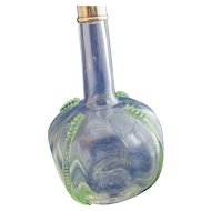 English Glass Decanter with Green Trails and Silver Mount 19th Century