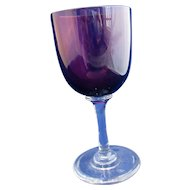 English Wine Glass Amethyst On Clear Stem Antique Victorian