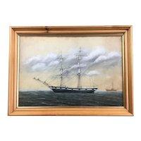 Ship Watercolour Painting Vintage c1920