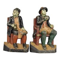Pair Cast Iron Drinking Figure Door Stops Original Paint Antique 19th Century