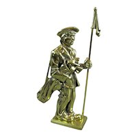 Large Cast Brass Door Stop Golfer Vintage Art Deco c1930