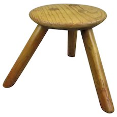 Small Ash Milking Stool Eastern Europe Vintage
