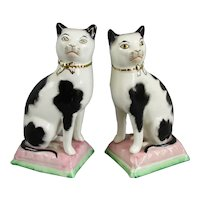 Pair of Smaller Staffordshire Cats Antique c1900