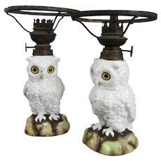 Pair of Small Sitzendorf Snowy Owl Oil Lamp Bases German Antique c1870