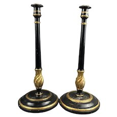 Pair Of Italian Black And Gold Painted Wood Candlesticks Antique Victorian c1880