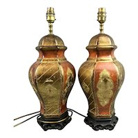Pair Of Gilded Pottery Lamps On Chinese Pottery Stands Vintage c1960