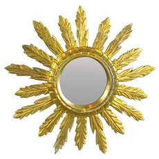 Smaller Carved & Gilded Sunburst Mirror Vintage c1950