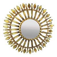 Gilt Metal Sunburst Sunflower Wall Mirror Vintage c1960