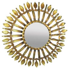 Gilt Metal Sunburst Sunflower Wall Mirror Vintage c1960