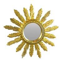 Small Giltwood Sunburst Mirror Vintage c1960