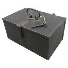 Small Iron Safe Box Antique c1850